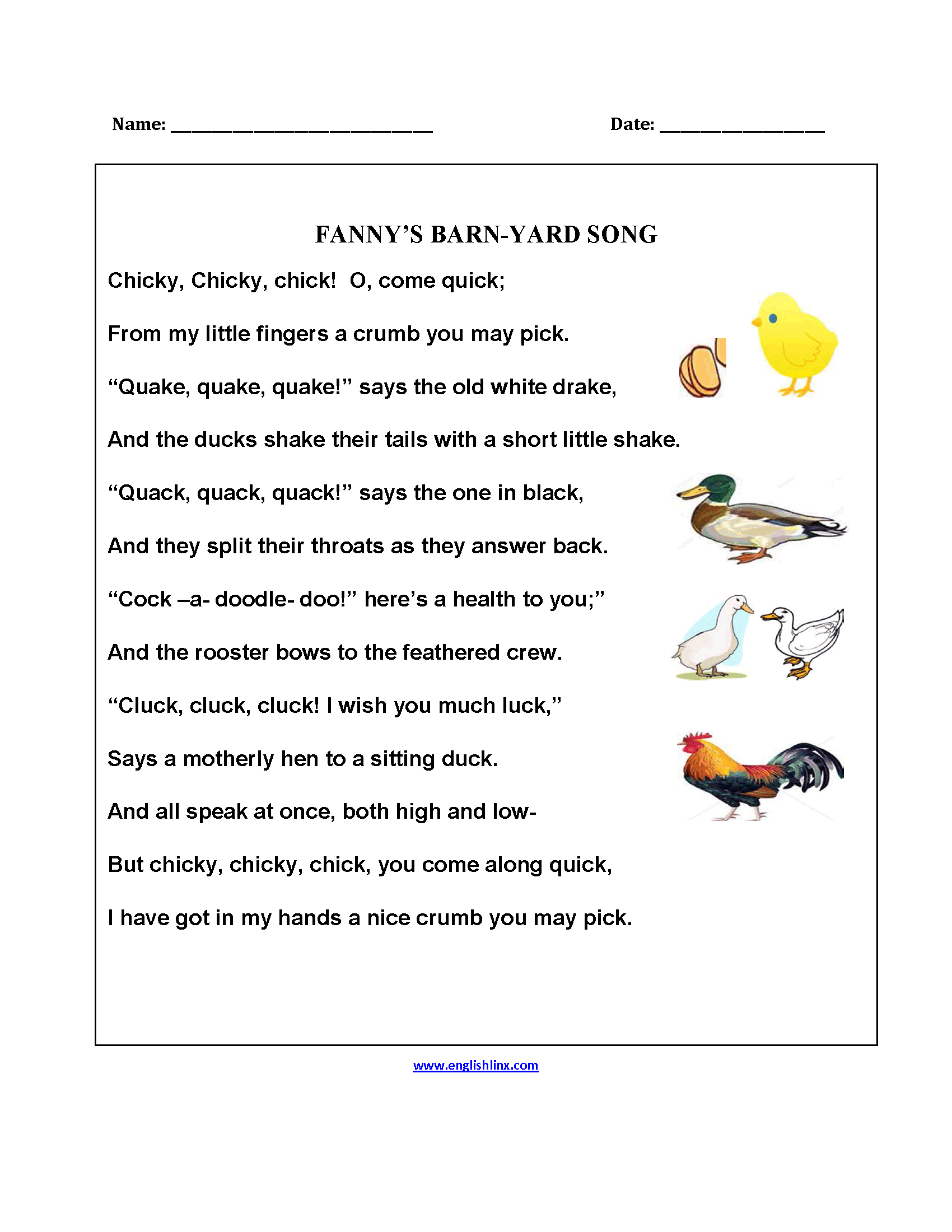 Fanny's Barnyard Song Poetry Worksheets