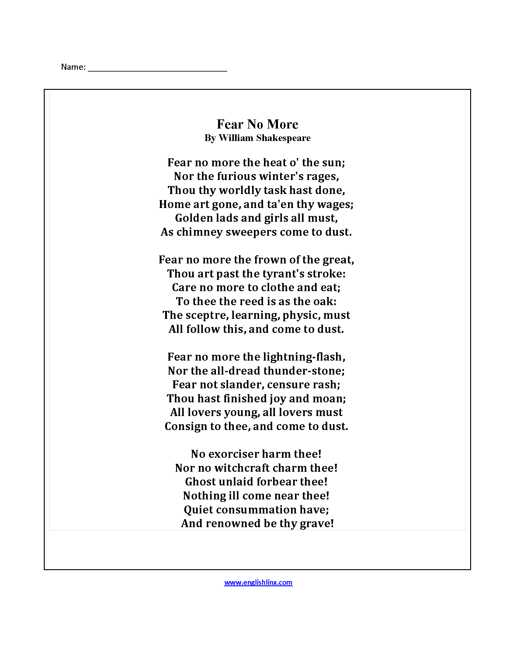 Poetry Worksheets | Fear No More Poetry Worksheets