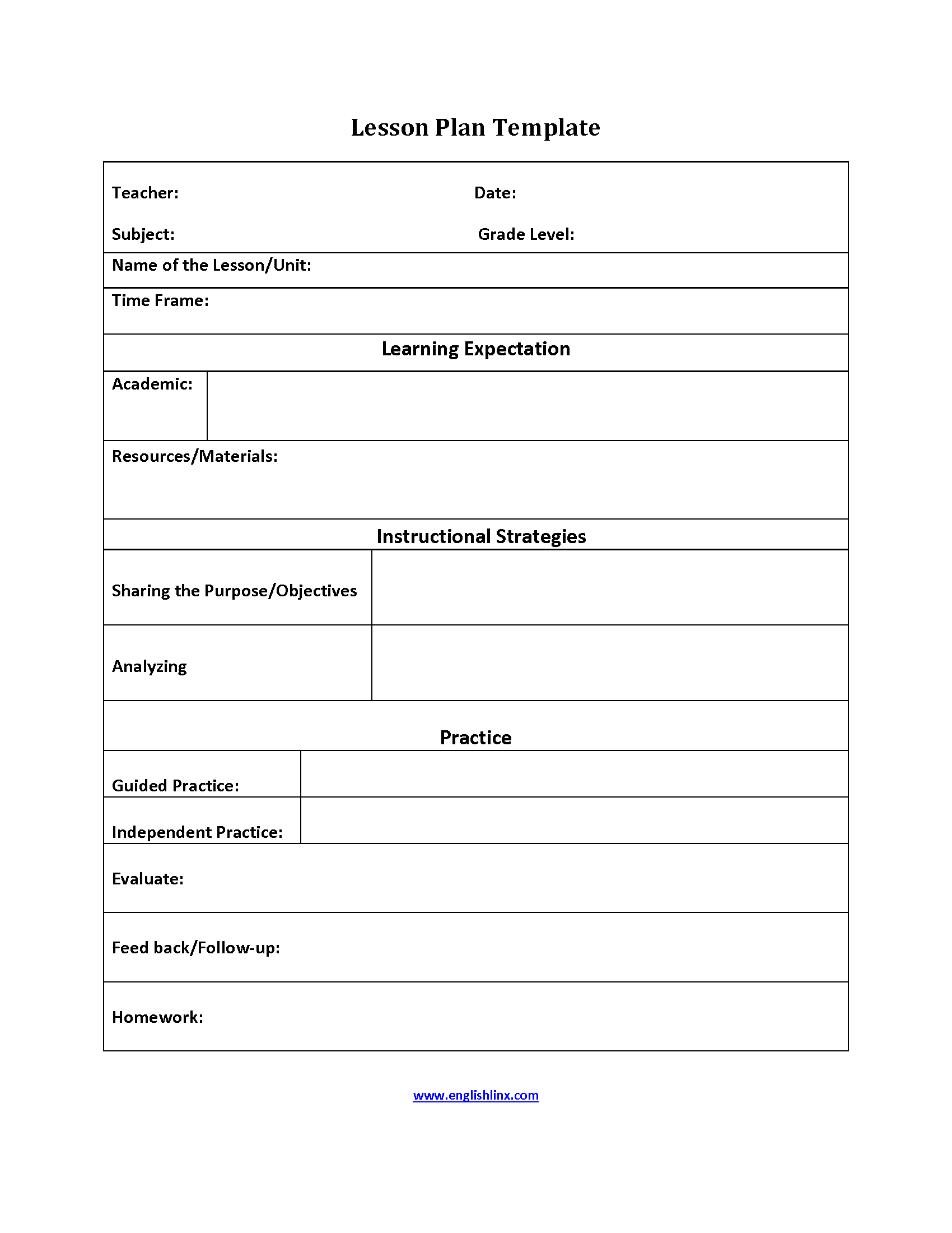 Feedback Lesson Plan Template