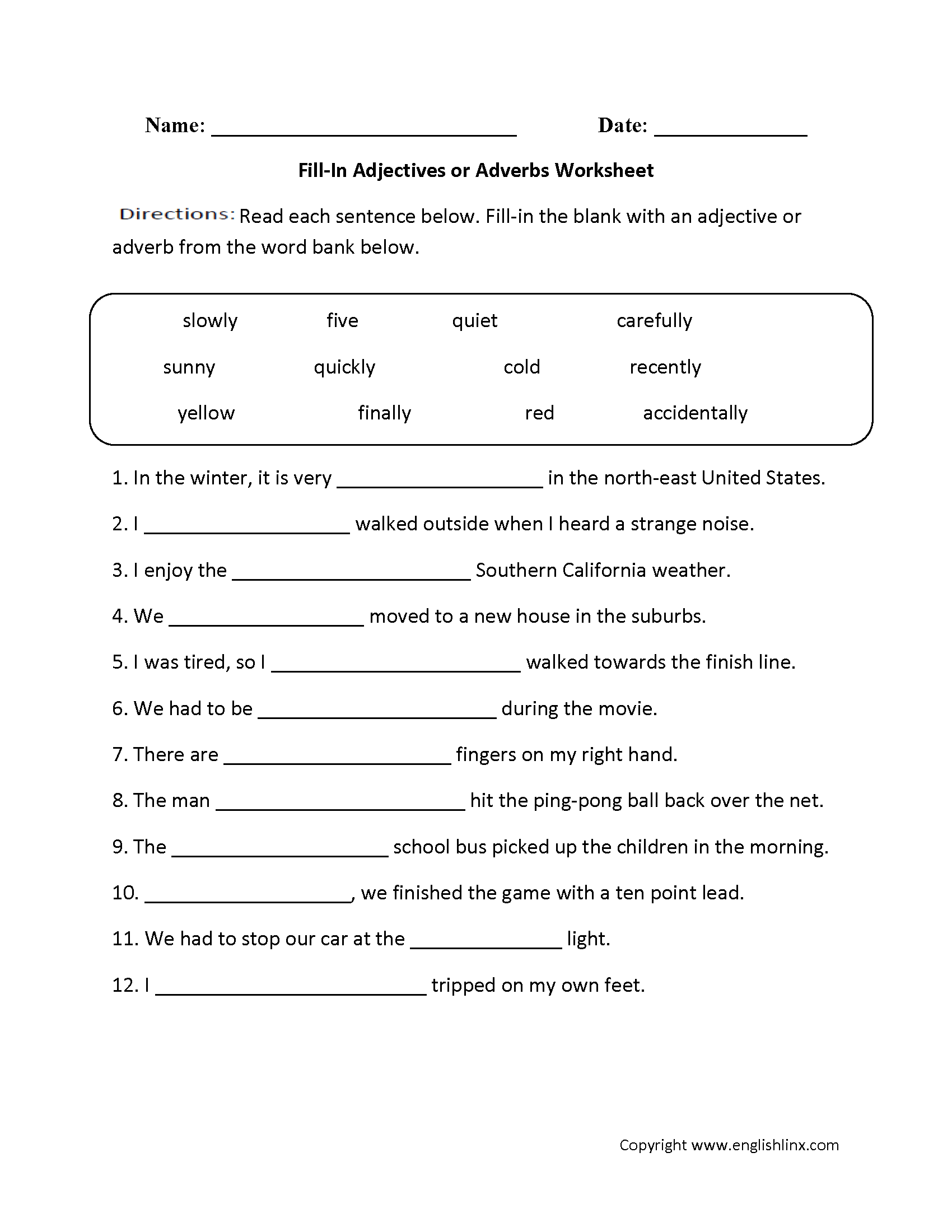 ... or Adverbs Worksheets | Fill-In Adjectives or Adverbs Worksheet