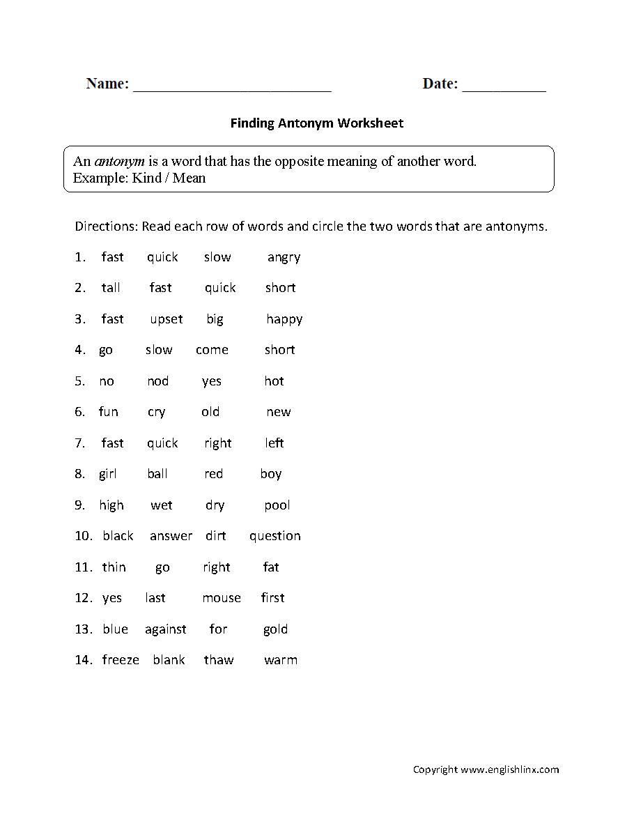 Workbooks vocabulary building worksheets high school : Vocabulary Worksheets | Synonym and Antonym Worksheets