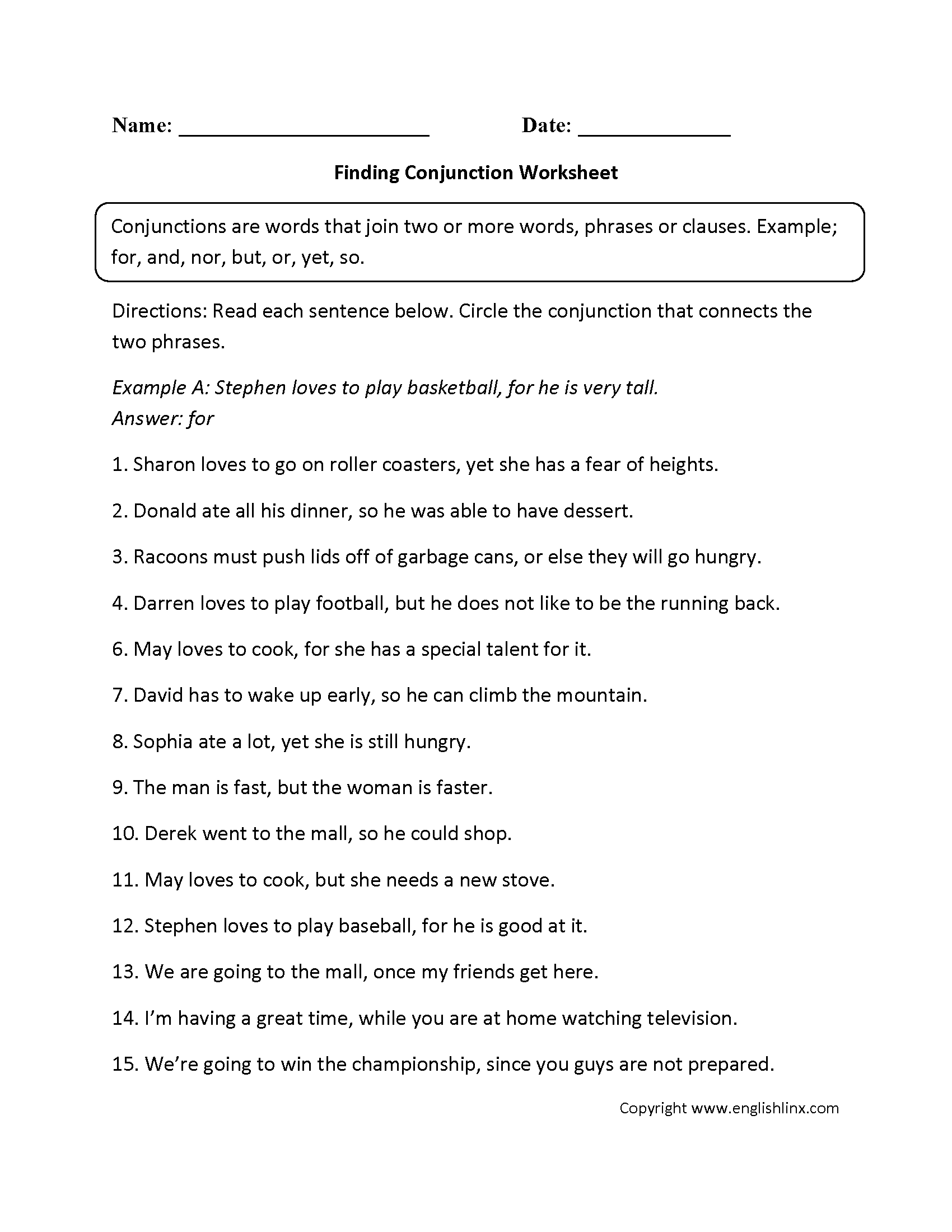 Parts Speech Worksheets | Conjunction Worksheets