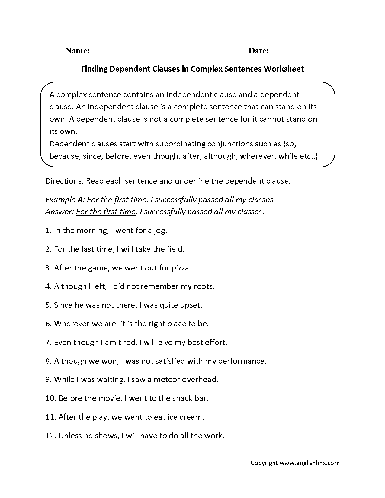 Sentences Worksheets – Independent and Dependent Clauses Worksheets