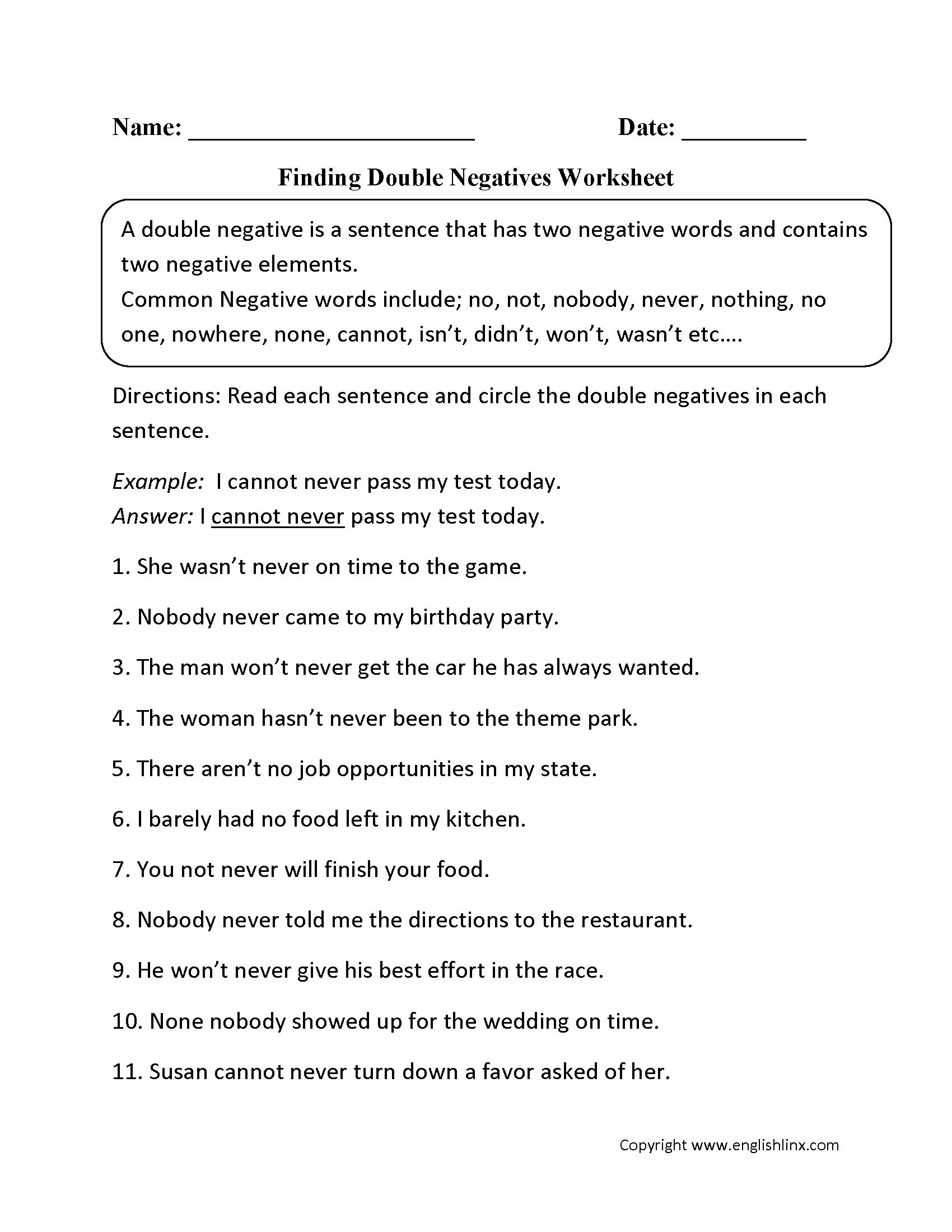 Word Usage Worksheets   Negatives Worksheets