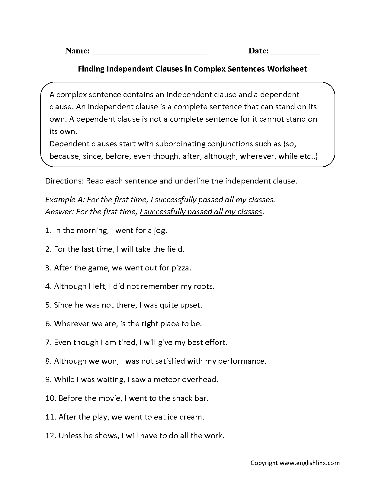 Complex Sentences Worksheets – Independent Clause Worksheet