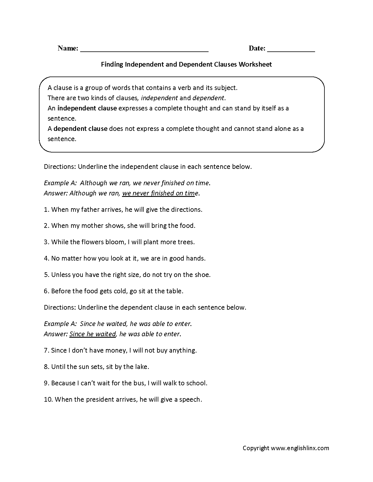 Free Worksheet Independent And Dependent Clauses Worksheets englishlinx com clauses worksheets grades 9 12 worksheets