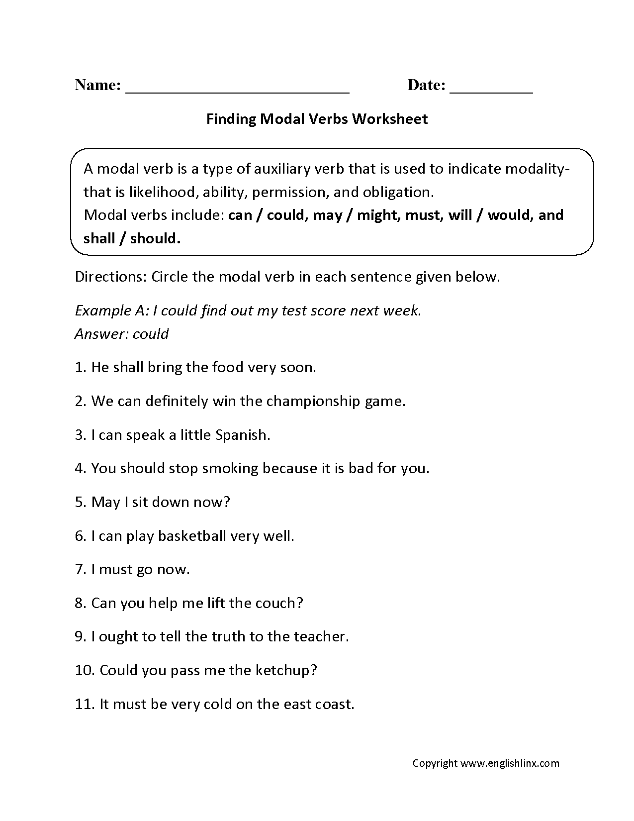 Verbs Worksheets | Modal Verbs Worksheets