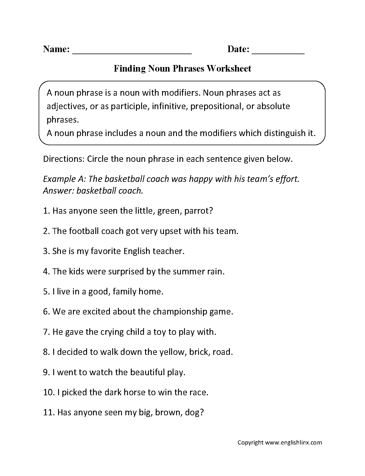 Worksheet Types Of Nouns Exercises englishlinx com nouns worksheets noun phrases worksheets
