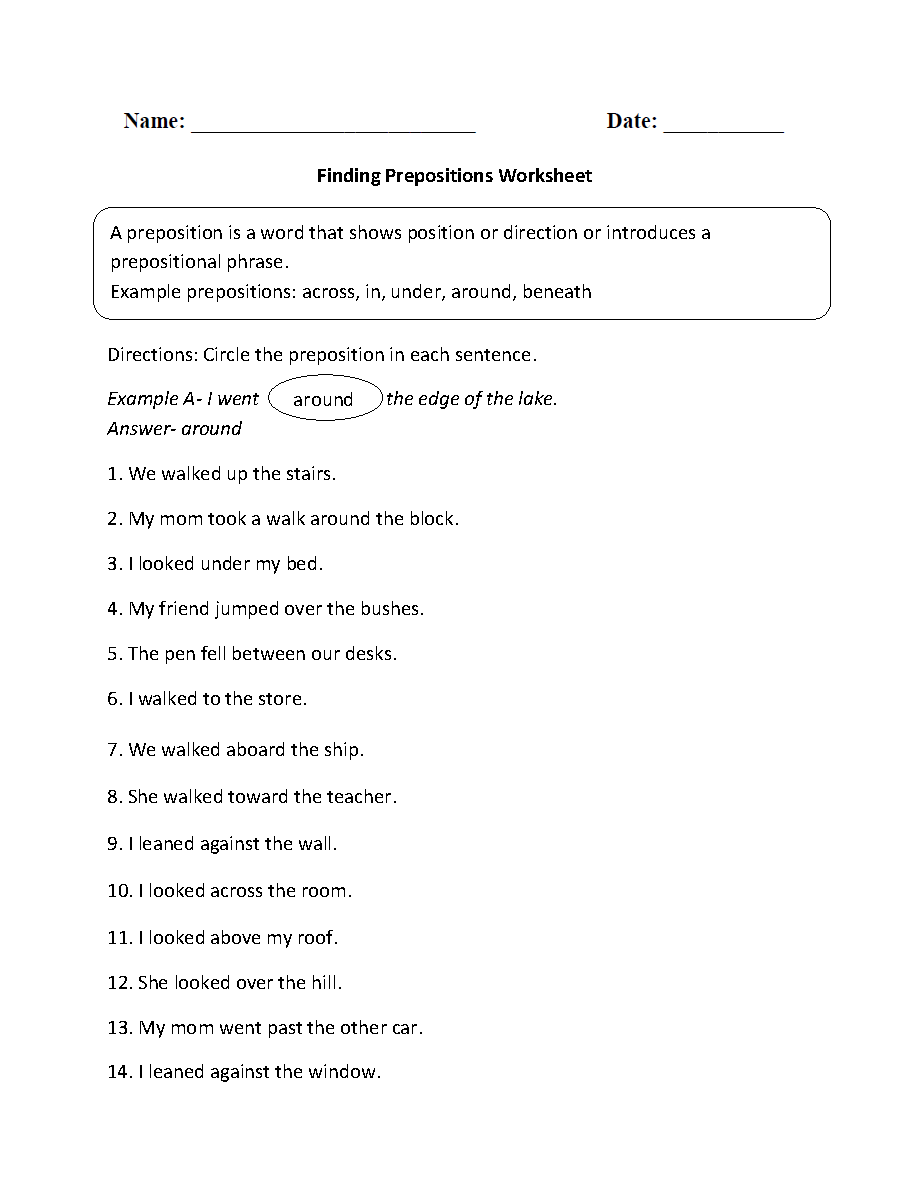 Parts Of A Sentence Worksheets Prepositional Phrase Worksheets