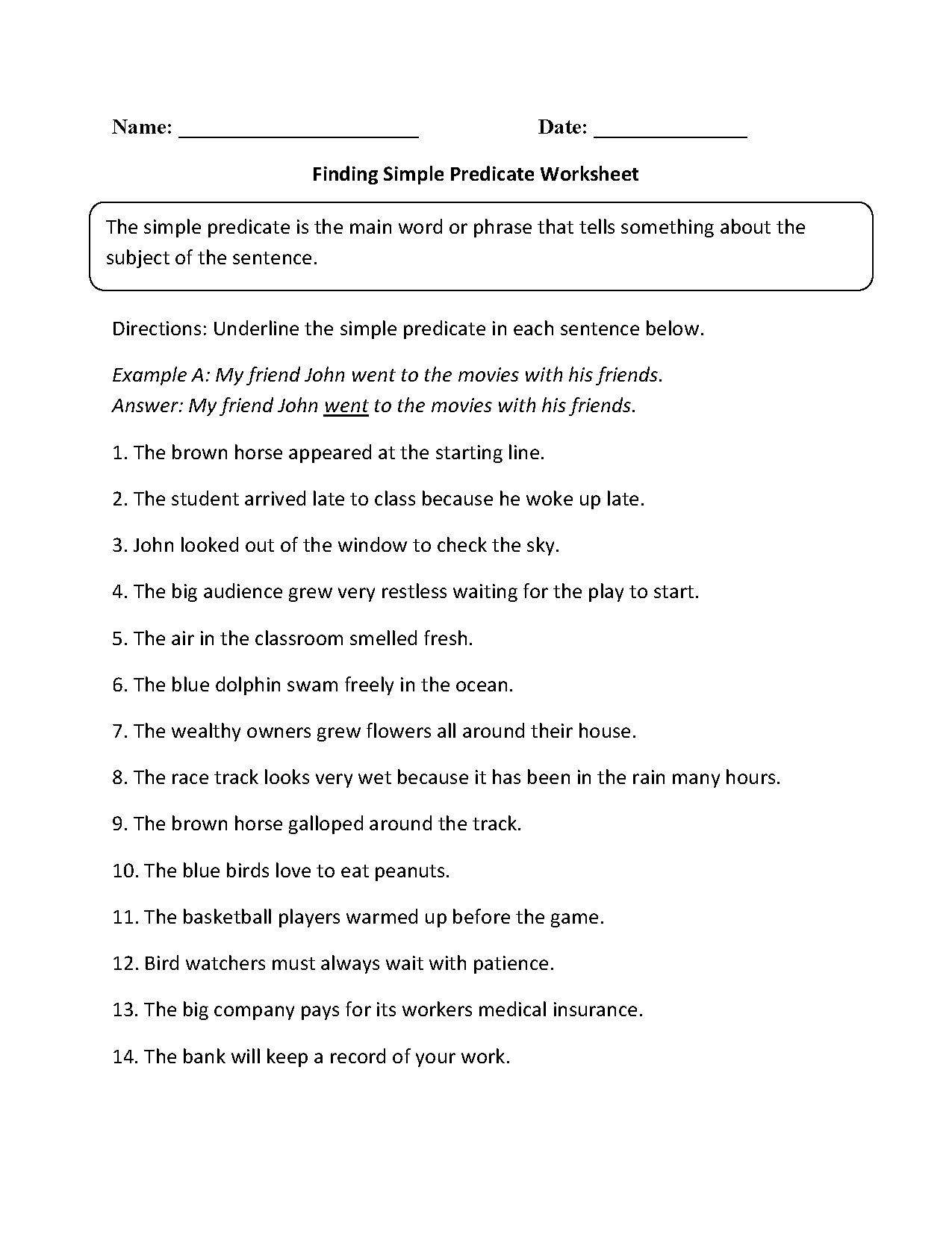 Subject and Predicate Worksheets | Finding Simple Predicate Worksheet