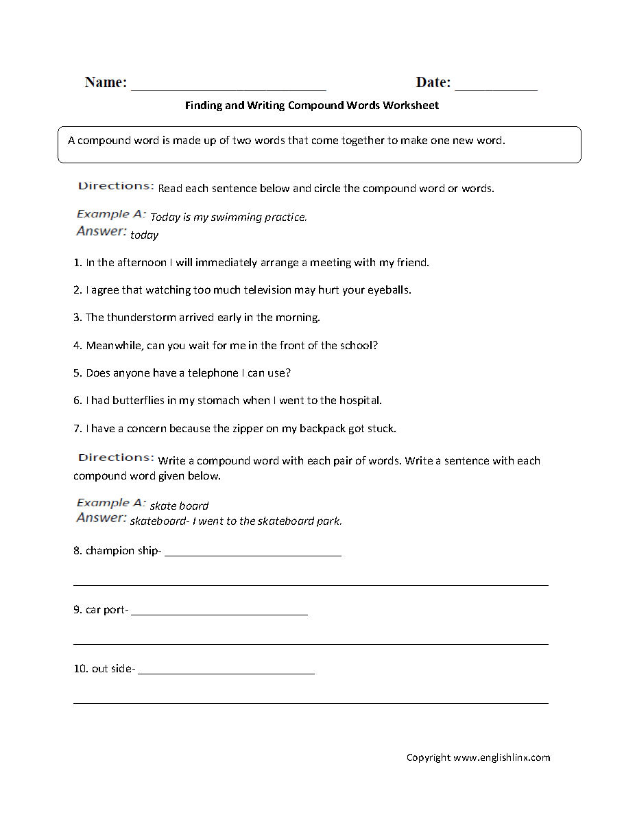 Workbooks plural rules worksheets : Englishlinx.com | Compound Words Worksheets
