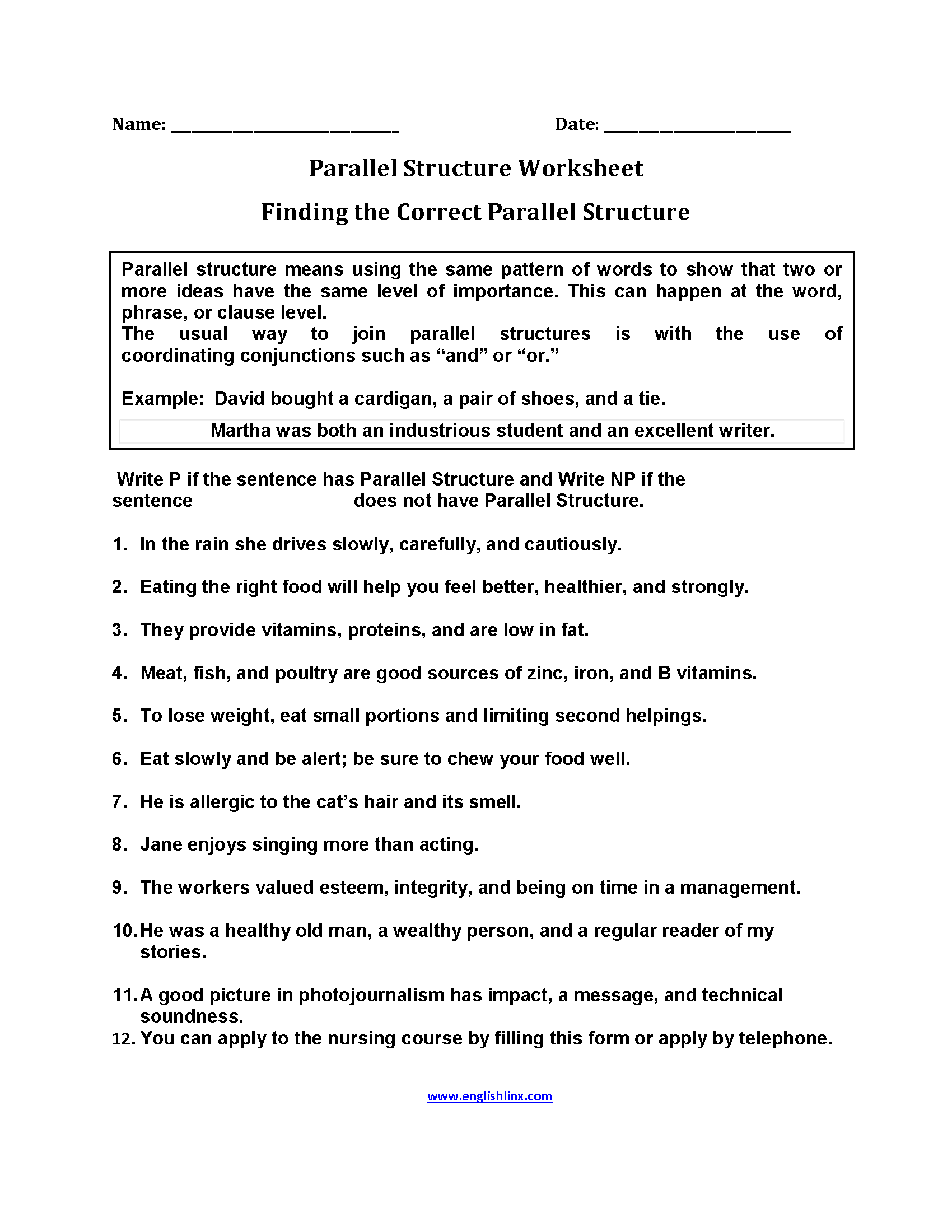 Finding Parallel Structure Worksheets