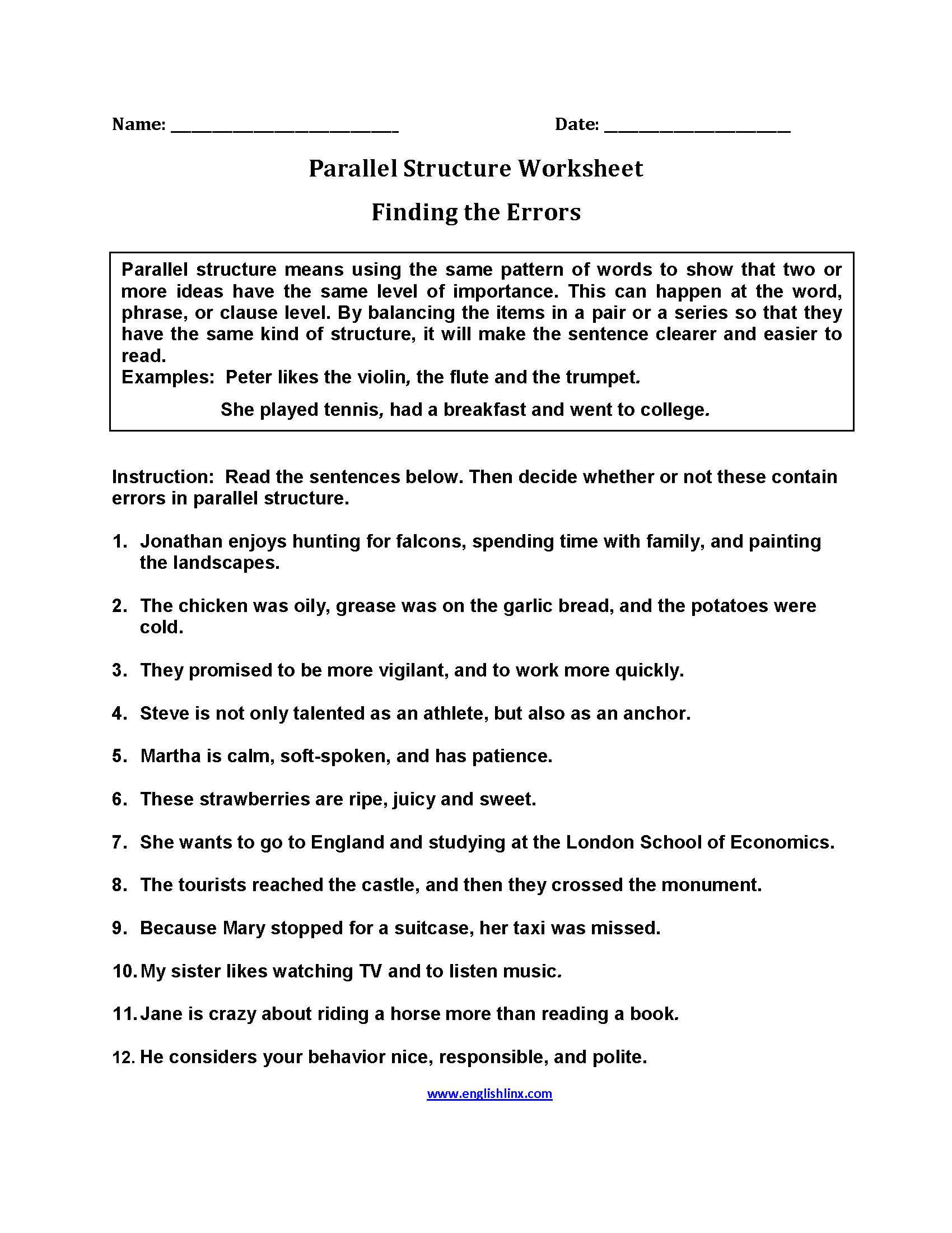 Parallel Structure Worksheets | Finding Errors Parallel Structure ...