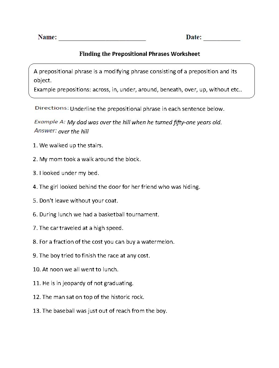 Parts of a Sentence Worksheets – Prepositional Phrase Worksheet
