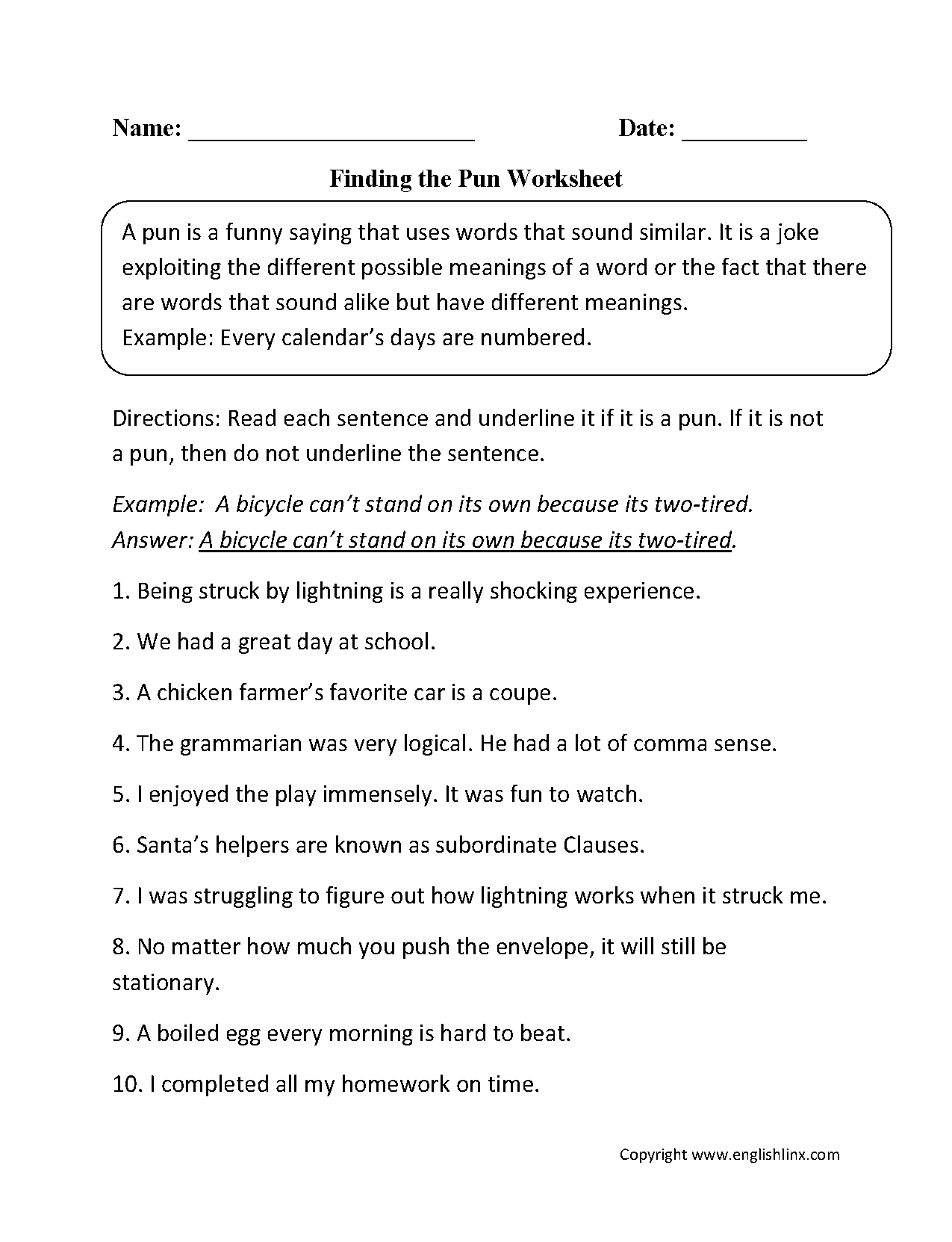 {Figurative Language Worksheets – Pun Worksheet