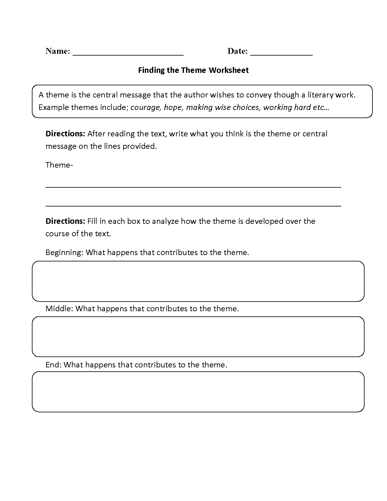 Finding the Theme Worksheet