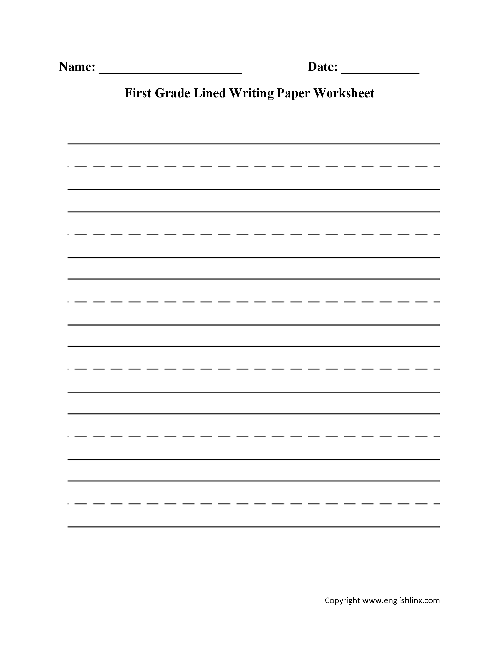 Writing Worksheets | Lined Writing Paper Worksheets