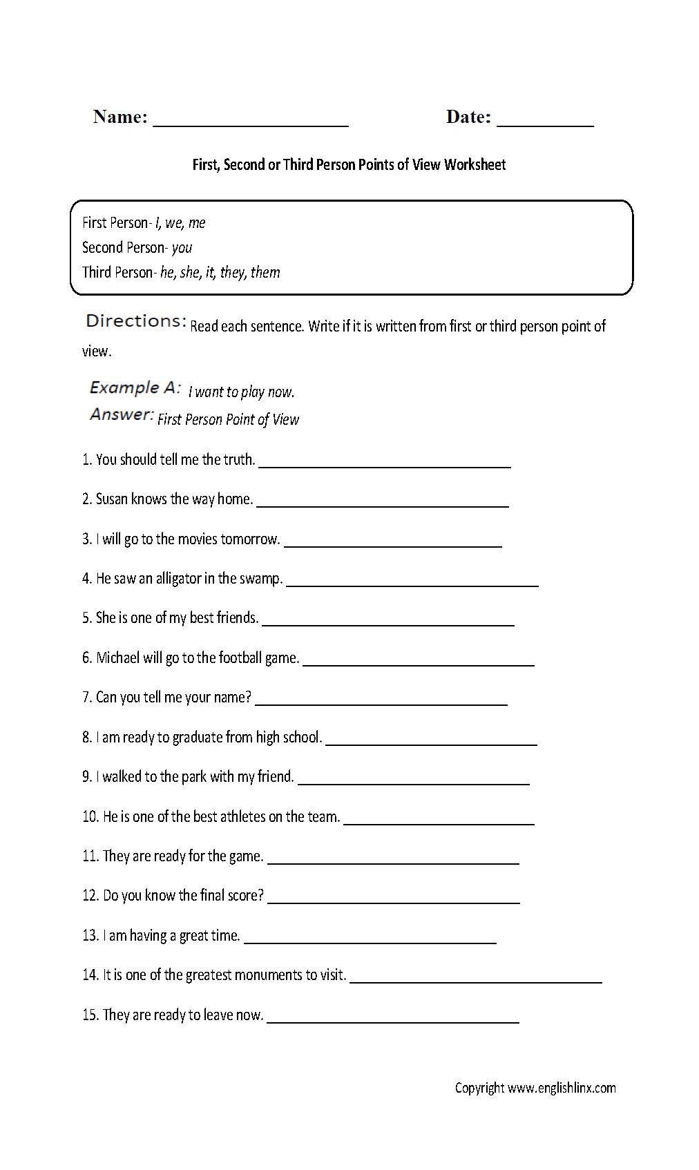 Worksheets Point Of View Worksheets 3rd Grade englishlinx com point of view worksheets worksheet
