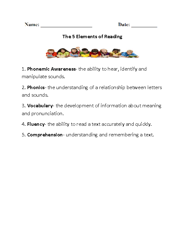 Elements of Reading Reading Comprehension Worksheets