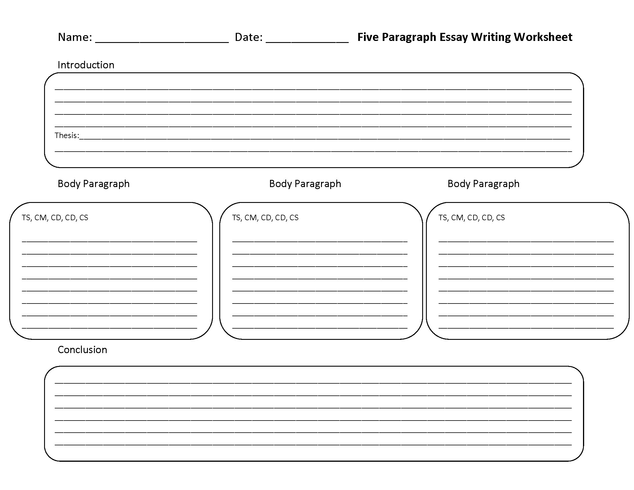 {Writing Worksheets – Essay Outline Worksheet