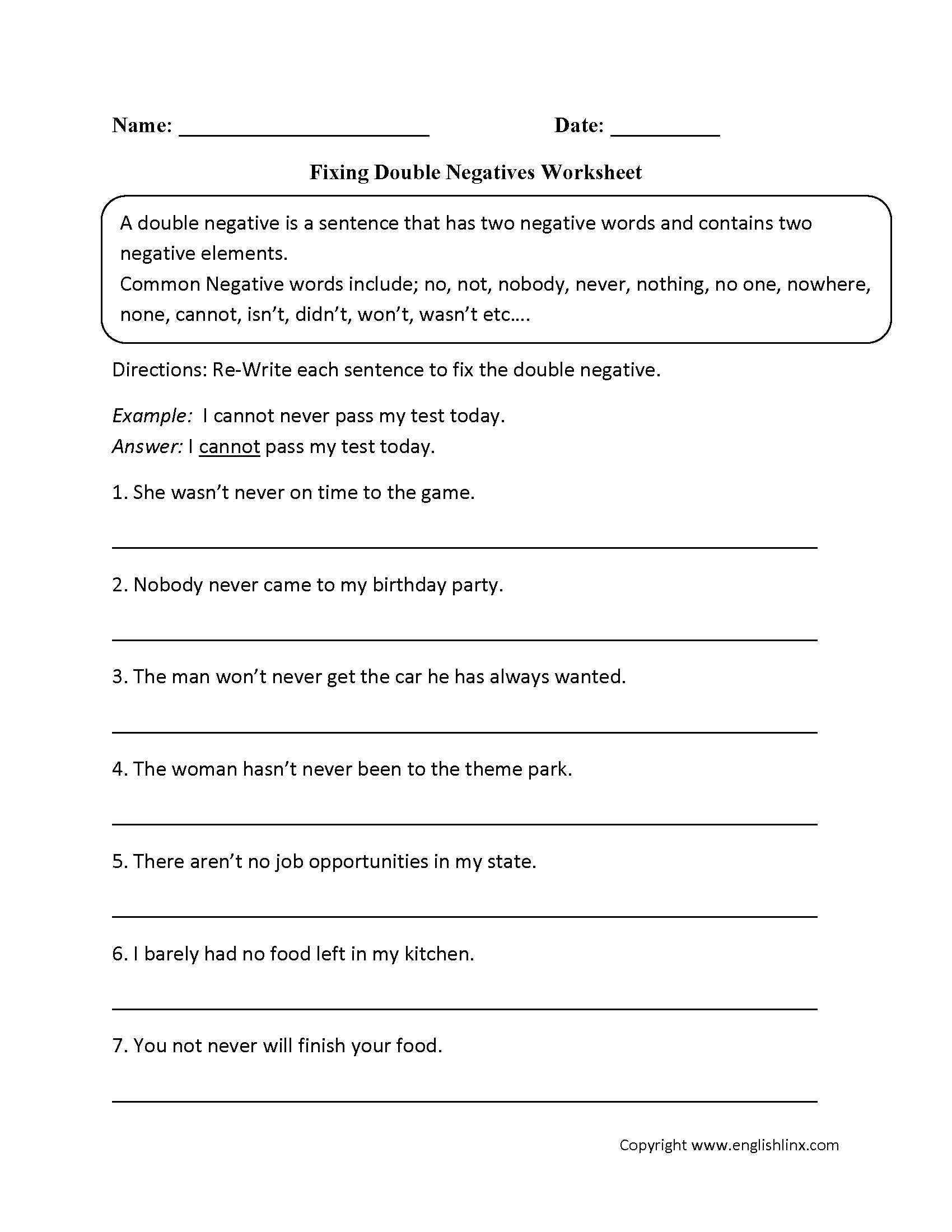 Word Usage Worksheets – Double Negative Worksheets