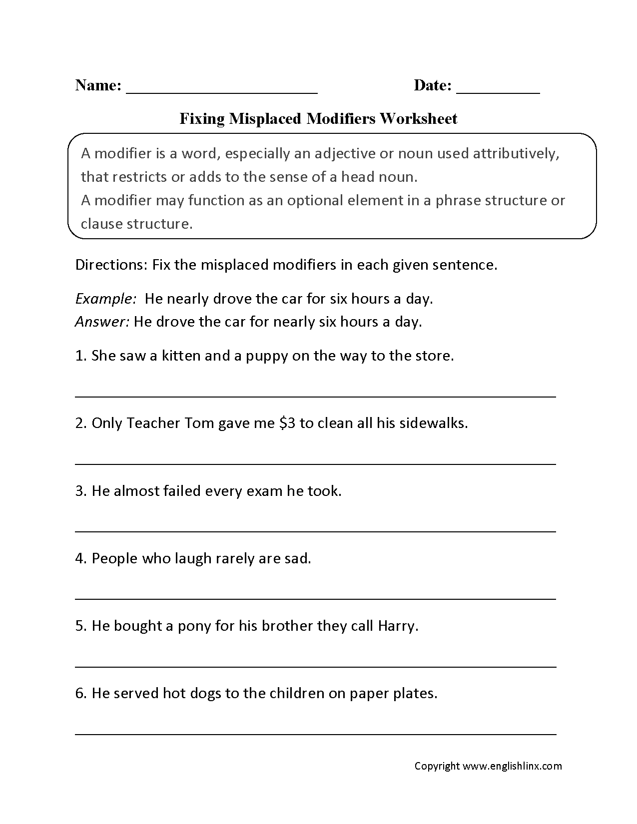 Using Modifiers Worksheets