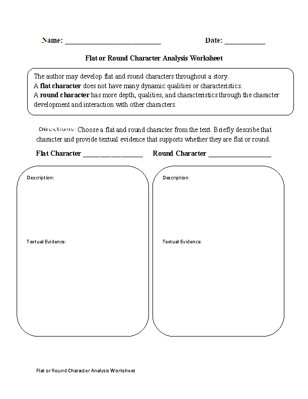 Flat or Round Character Analysis Worksheet