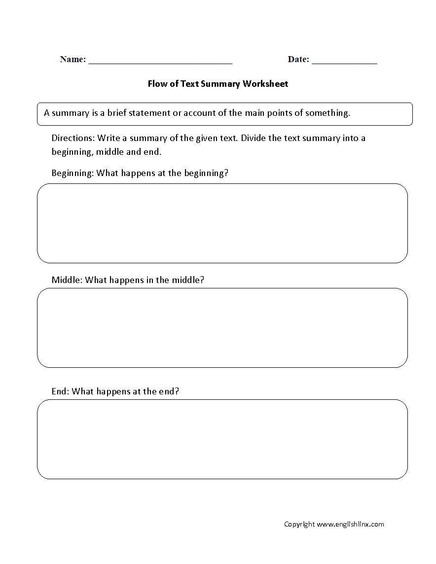 Reading Worksheets Summary Worksheets