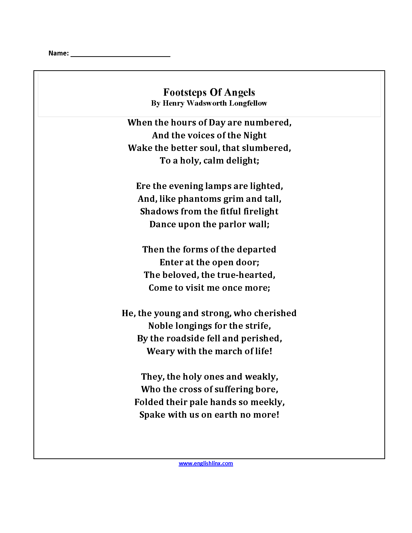 Englishlinx – Poetry Worksheet