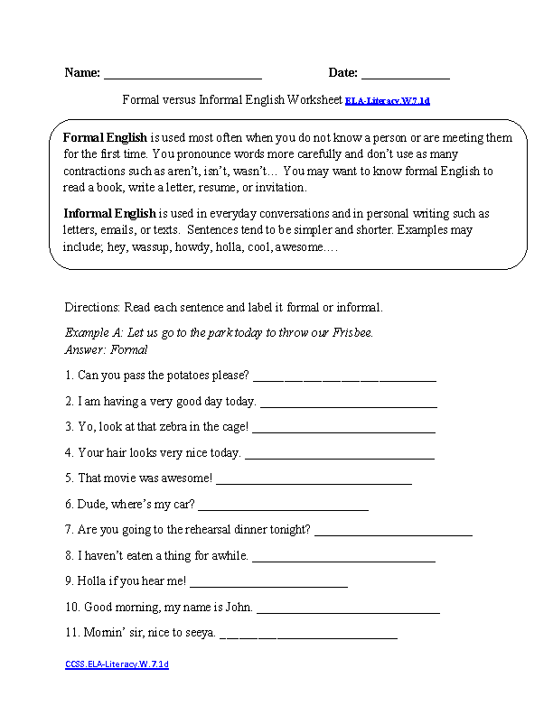 7th Grade Mon Core Writing Worksheets. Formal Vs Informal Style Elaliteracyw71d Writing Worksheet. Worksheet. 7 Grade Worksheets At Mspartners.co