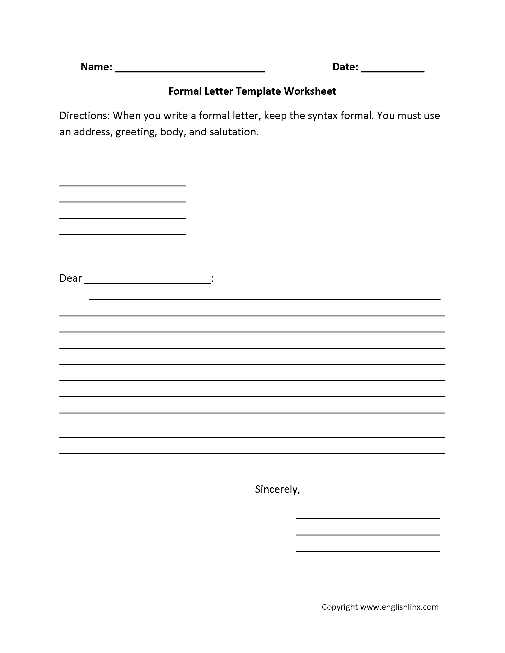 formal letter writing worksheets
