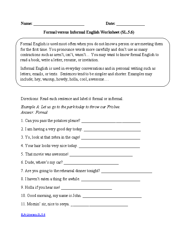English Worksheets | 5th Grade Common Core Worksheets