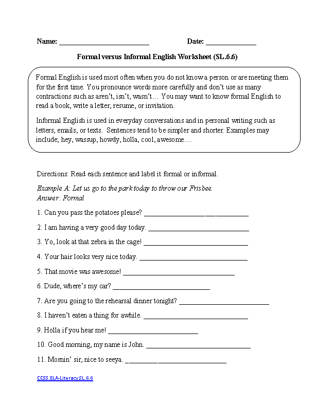 {English Worksheets – Sixth Grade Worksheets