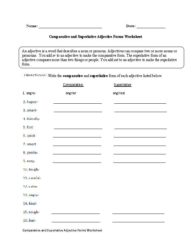 4th Grade free adjective worksheets for 4th grade : Adjectives Worksheets | Comparative and Superlative Adjectives ...