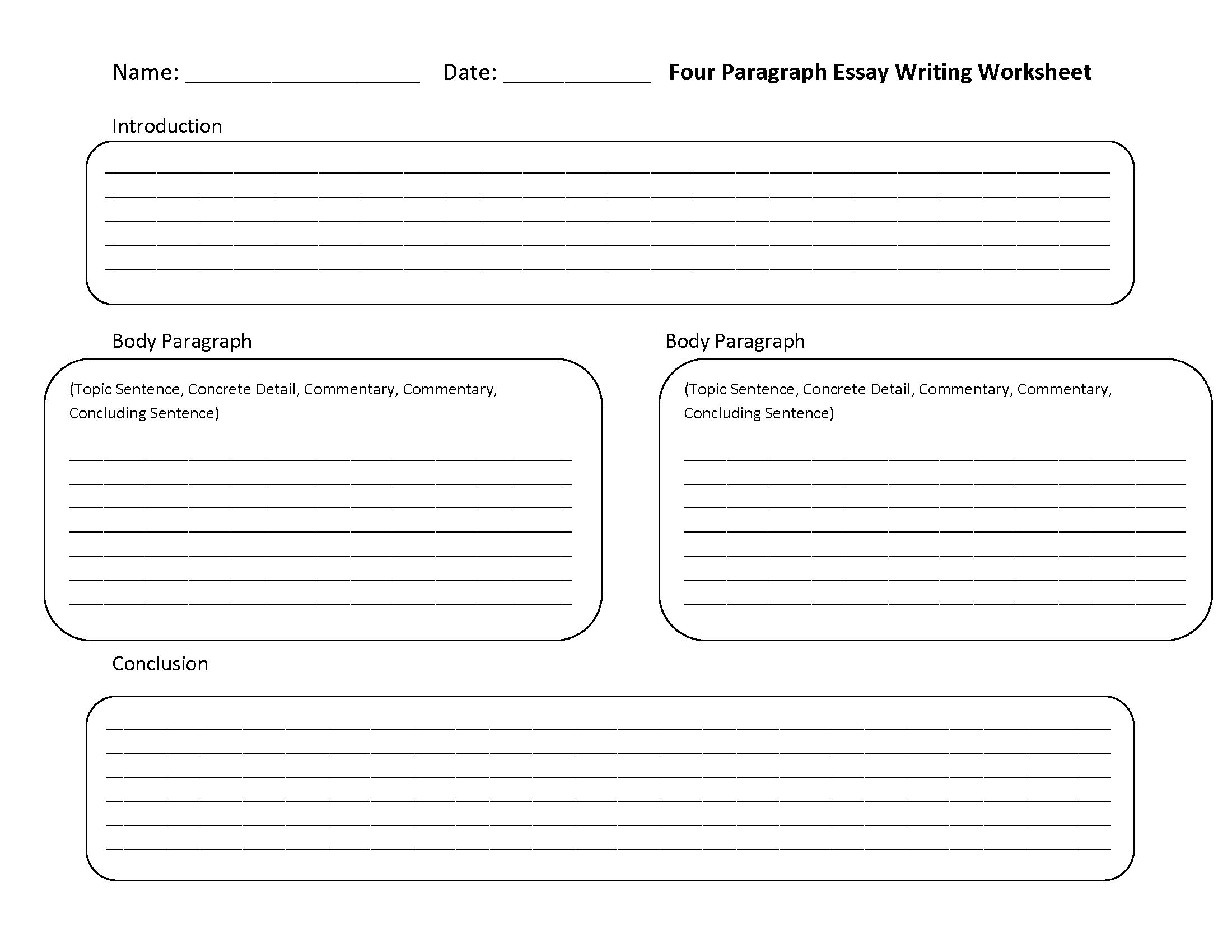 Personal Narrative Essay Worksheets