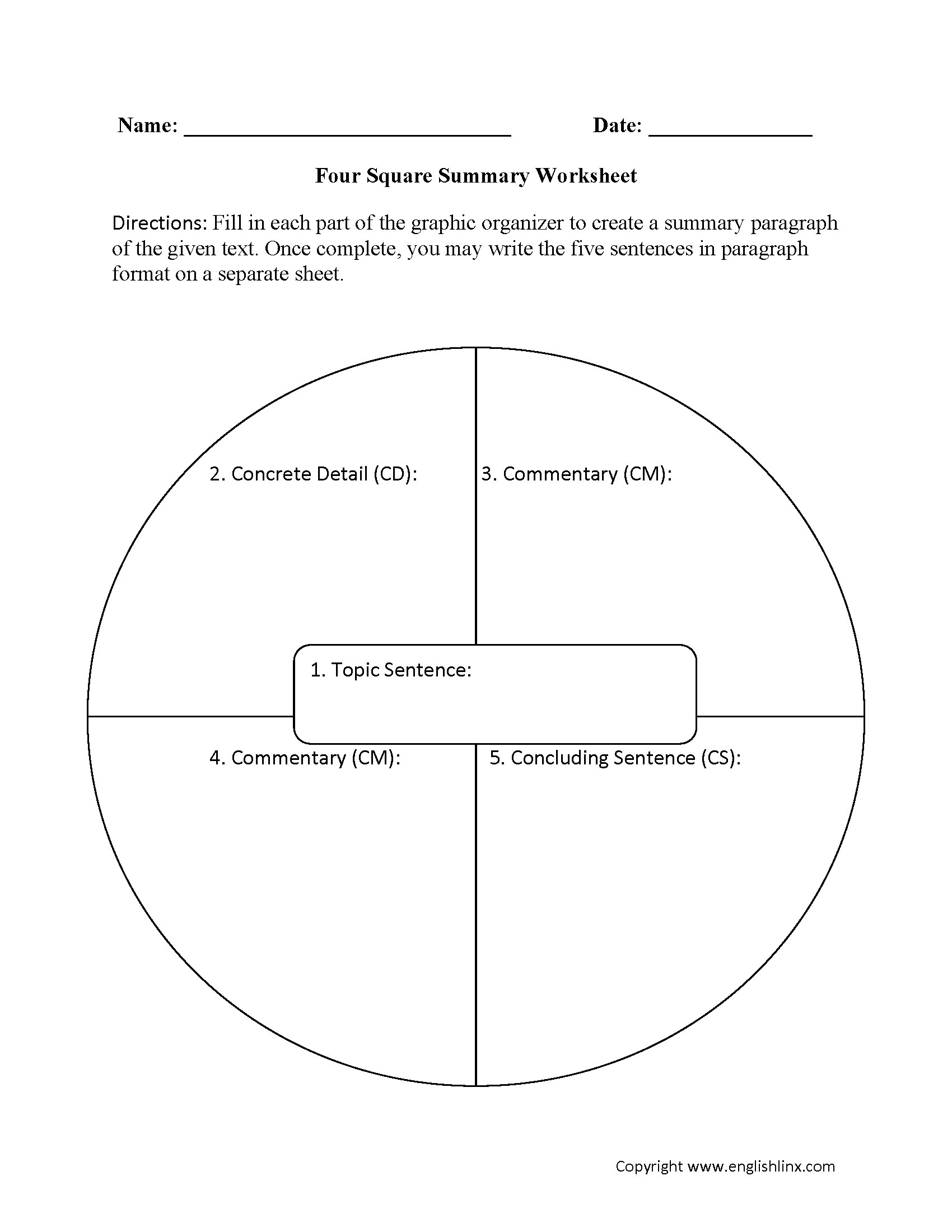 Summary Worksheets – Four Square Worksheet