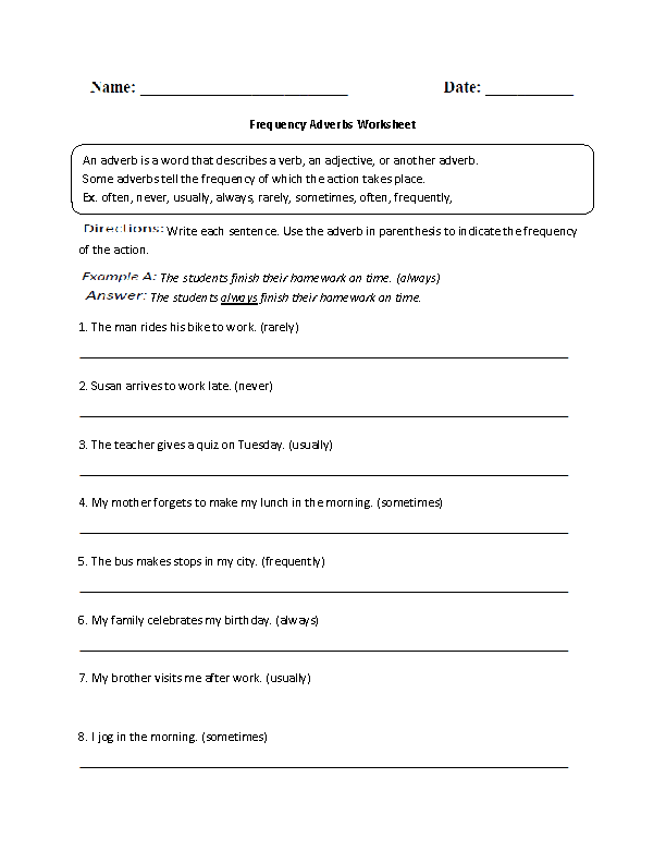 Frequency Adverb Worksheet