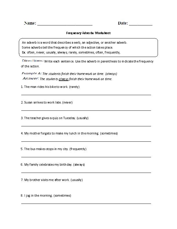 Regular Adverbs Worksheets Frequency Adverb Worksheet