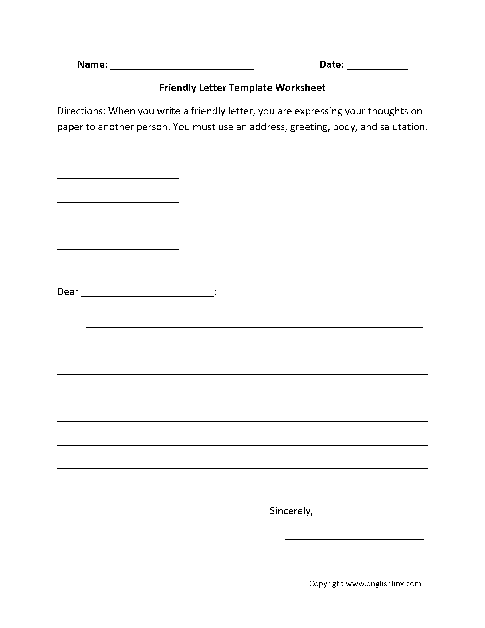 Friendly Letter Writing Worksheets  Letter Writing Template