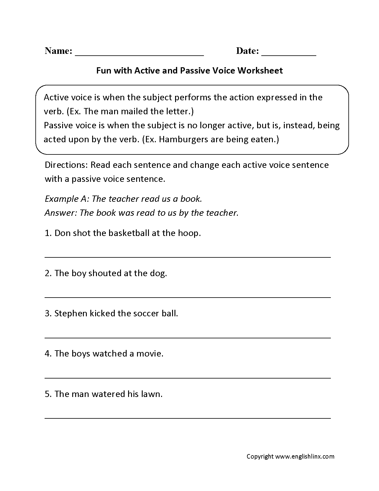 Worksheets Active And Passive Voice Worksheets With Answers englishlinx com active and passive voice worksheets worksheets