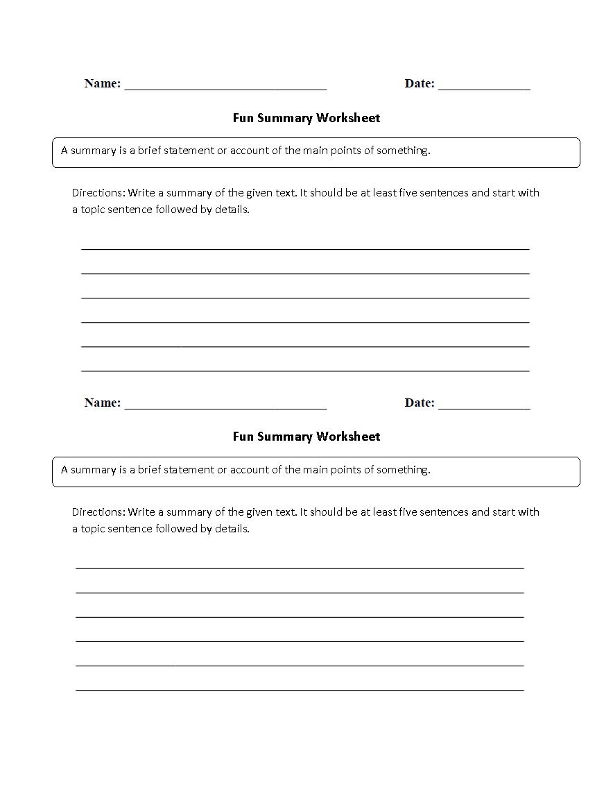 Reading Worksheets | Summary Worksheets