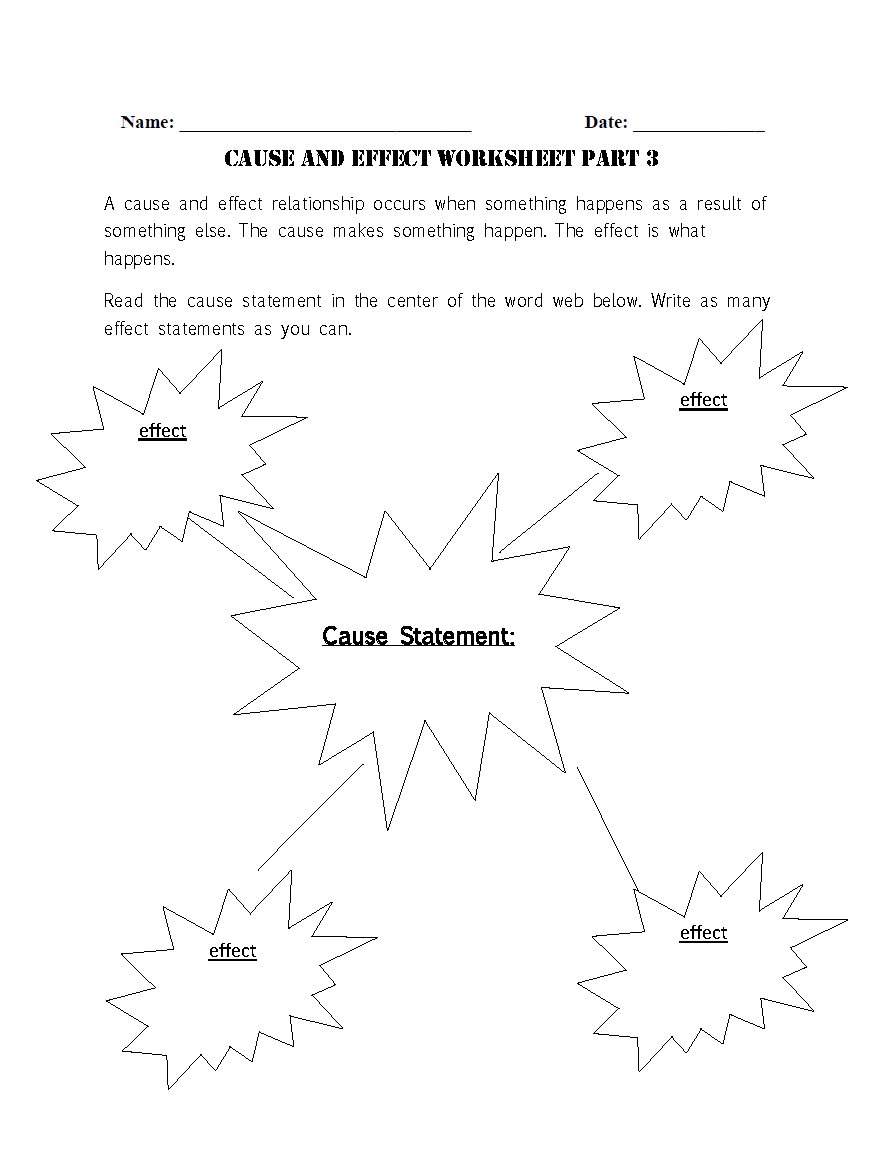 Reading Worksheets – Cause and Effect Worksheets 1st Grade