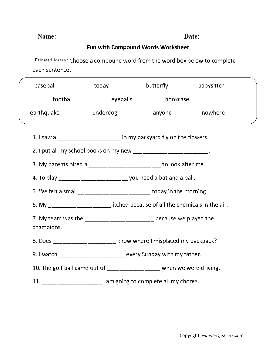 Printables Grammar Mechanics Worksheets grammar worksheets mechanics compound words
