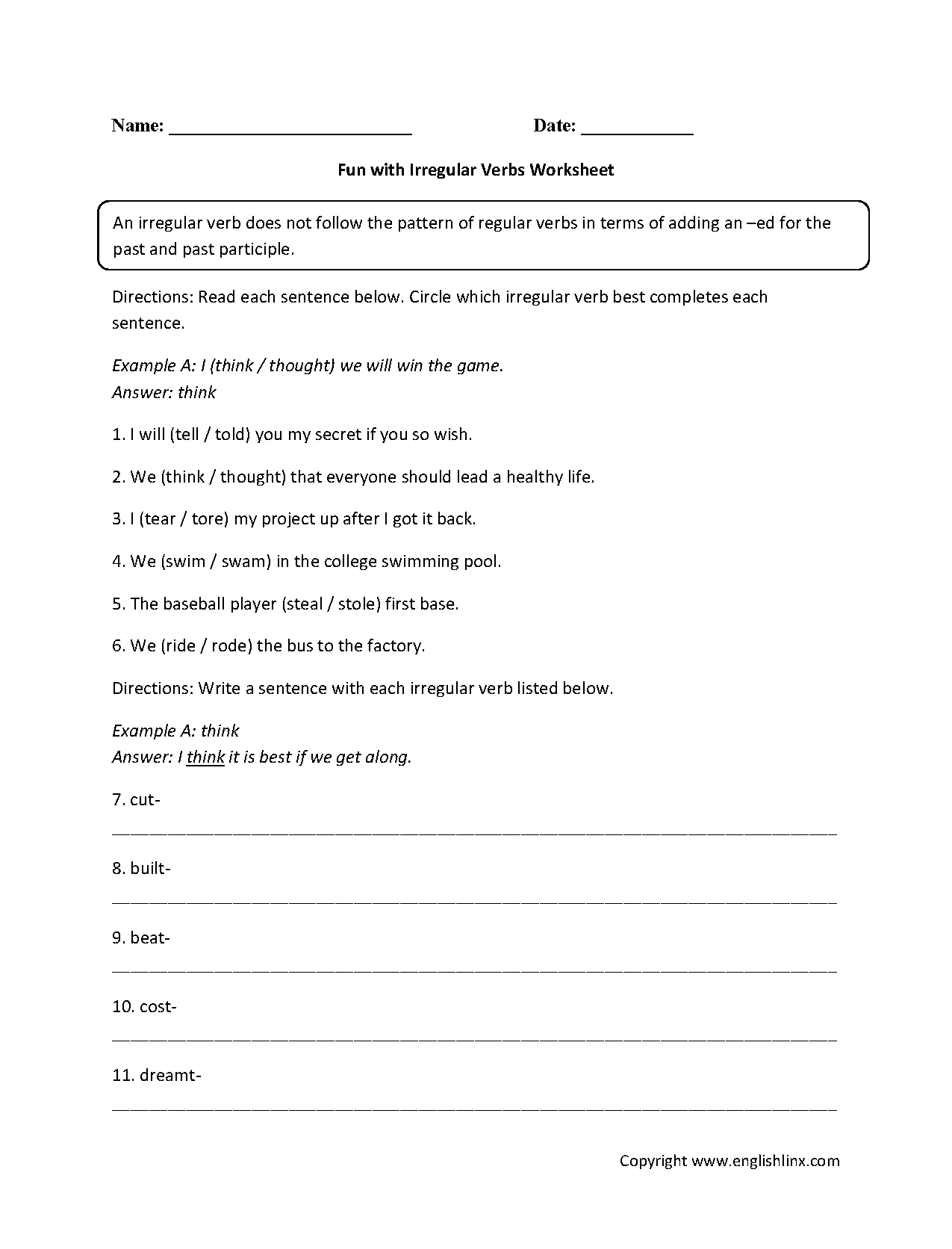 Verbs Worksheets – Irregular Verbs Worksheets