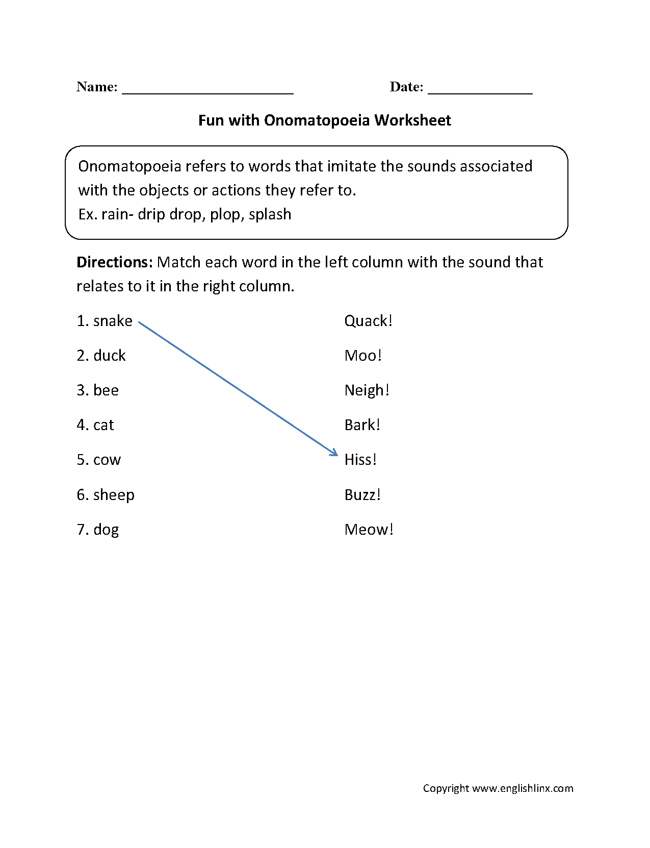 Figurative Language Worksheets | Onomatopoeia Worksheets