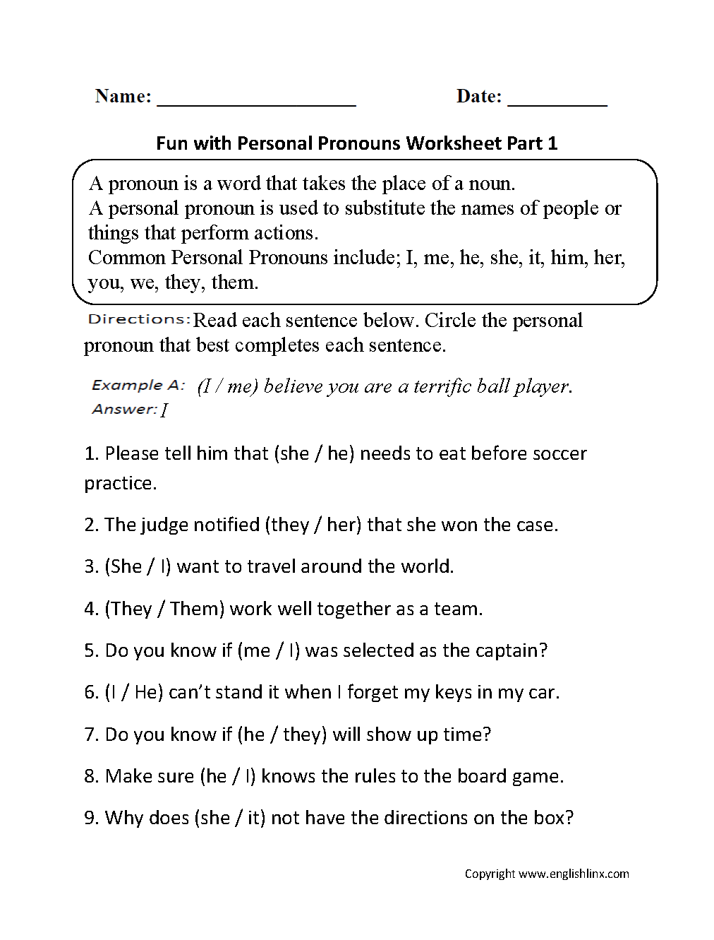 Pronouns Worksheets – Pronoun Case Worksheet