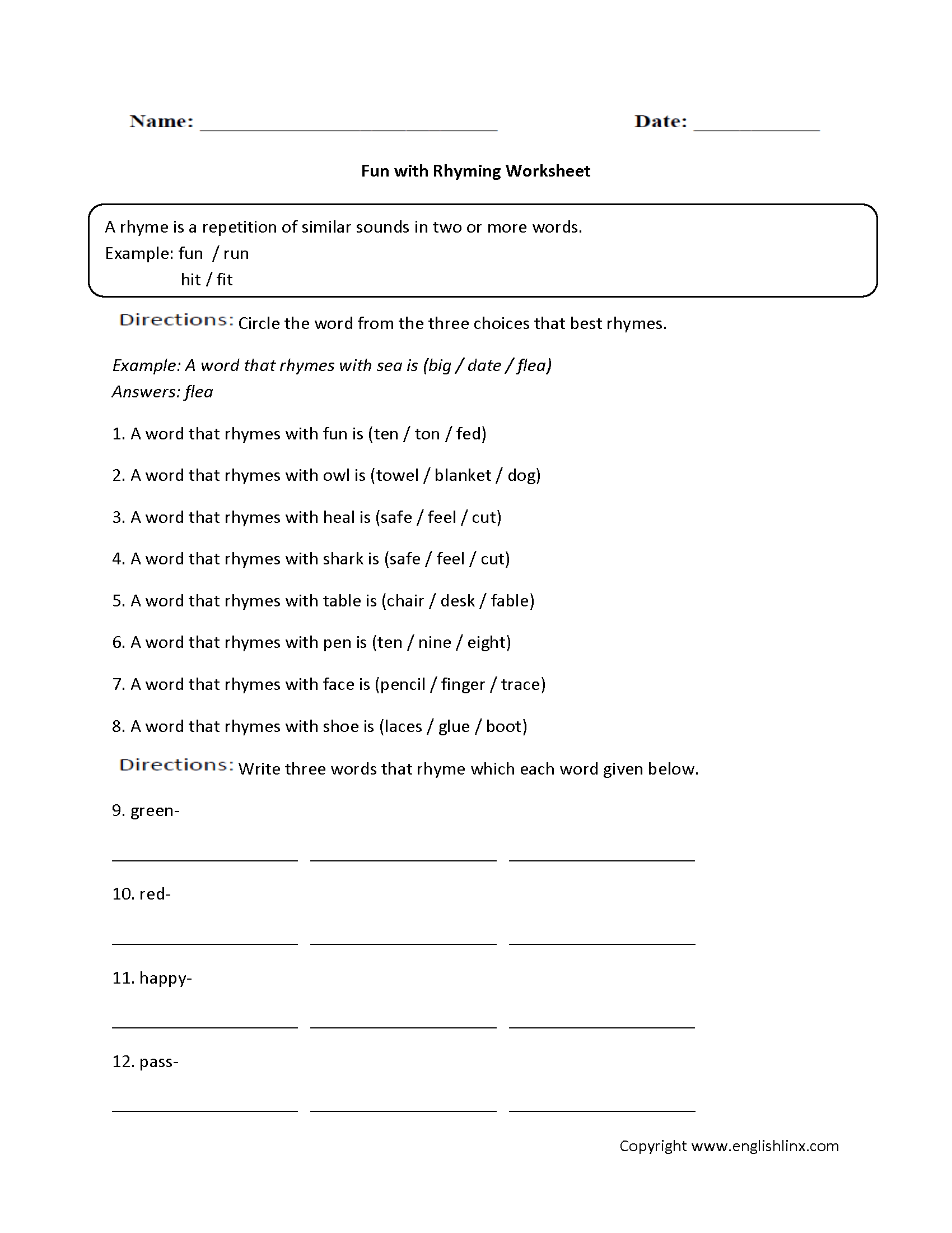 Englishlinx – Free Rhyming Worksheets