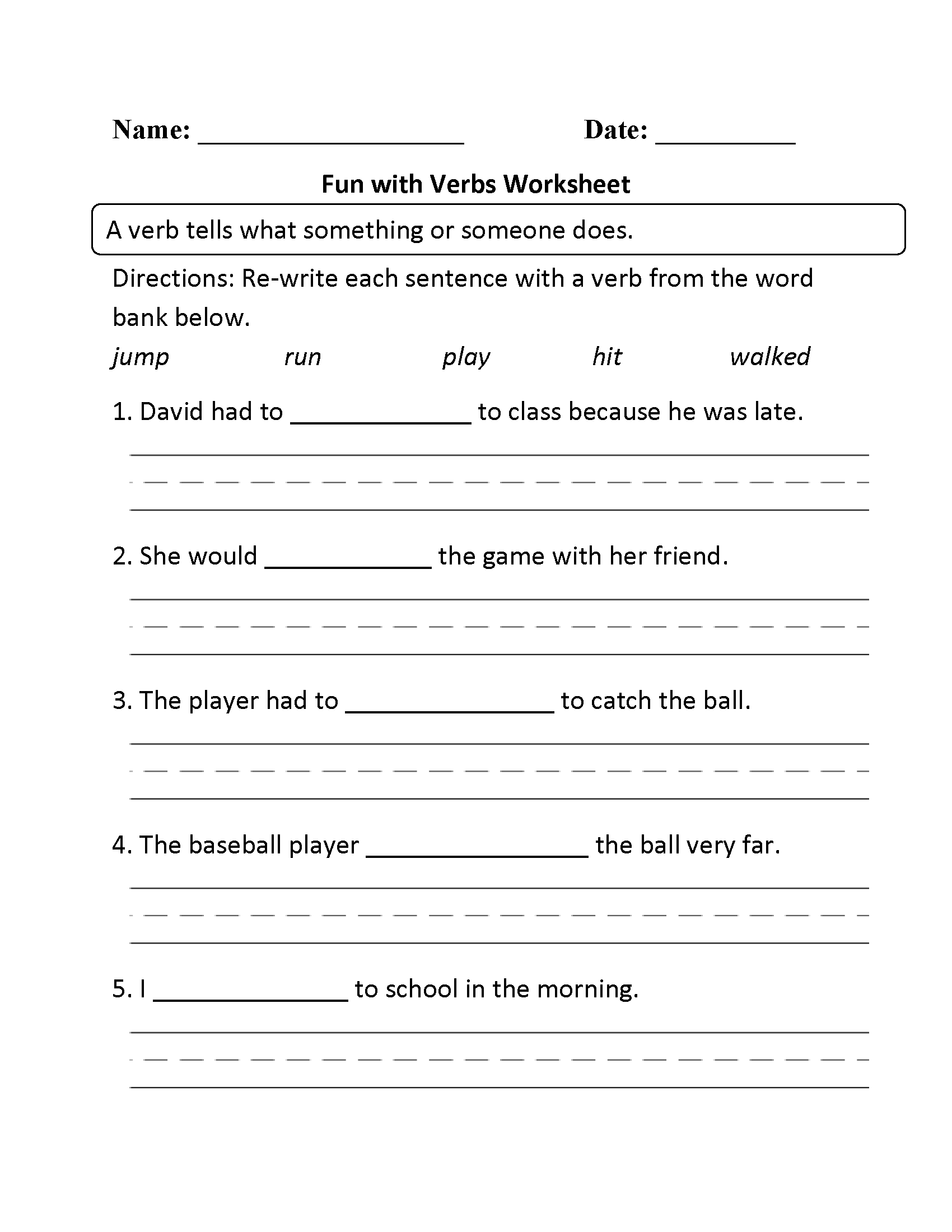 Parts Speech Worksheets Verb Worksheets