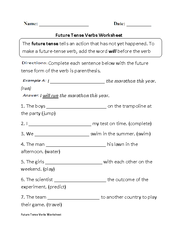 Verb_tenses on Kindergarten Worksheet For Re