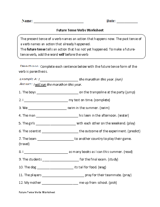 Verbs Worksheets – Future Tense Worksheets